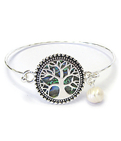 ABALONE WIRE BANGLE BRACELET - TREE OF LIFE