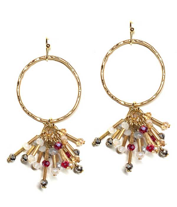 MULTI GLASS BEAD AND METAL TUBE DANGLE DROP HOOP EARRING