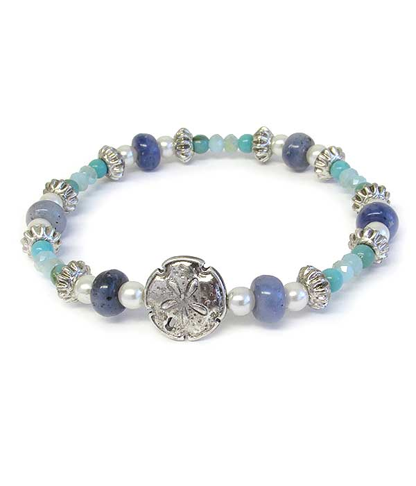 SEALIFE THEME MULTI GLASS BEAD STRETCH BRACELET - SAND DOLLAR