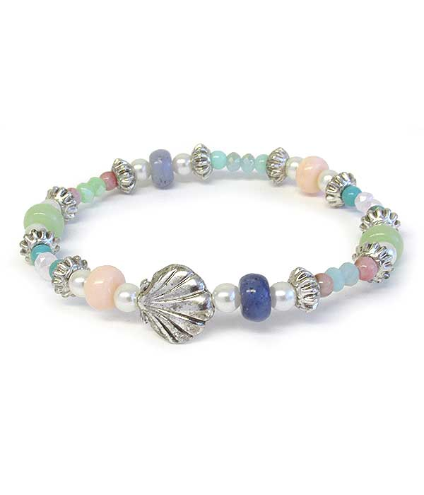 SEALIFE THEME MULTI GLASS BEAD STRETCH BRACELET - SHELL