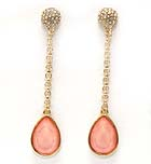 CRYSTAL METAL FIRE BALL DROP LONG CHAIN WITH TEAR DROP GLASS STONE EARRING