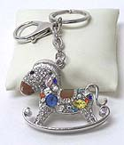 CRYSTAL ROCKING HORSE KEY CHAIN