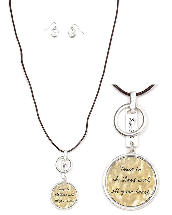 RELIGIOUS INSPIRATION HAMMERED METAL DISK PENDANT AND WAX CORD LONG NECKLACE SET - PROV 3:5