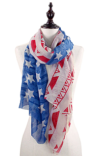AMERICAN FLAG AND AZTEC PATTERN OBLONG SCARF - 100% POLYESTER