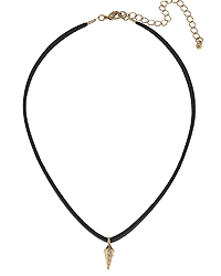 SPIKE AND LEATHER CORD CHOKER NECKLACE