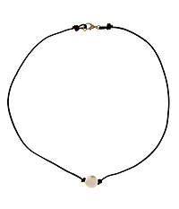 SIMPLE STONE AND LEATHER CORD NECKLACE