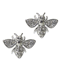 WHITEGOLD PLATING CRYSTAL BEE EARRING