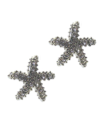 WHITEGOLD PLATING CRYSTAL STARFISH EARRING