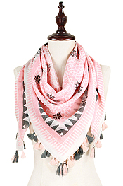 AZTEC PATTERN AND TASSEL SQUARE SCARF - 100% COTTON