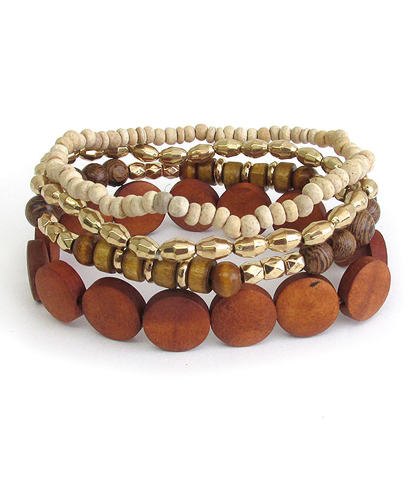 NATURAL WOOD BEAD MIX 4 STRETCH BRACELET SET