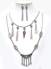 TWO LAYER TEXTURED METAL WITH TASSSEL DROP NECKLACE SET