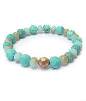BALL BEAD STRETCH BRACELET - TURQUOISE