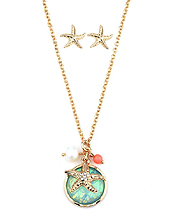 CRYSTAL STARFISH AND ABALONE FINISH PUFFY STONE AND PEARL DROP NECKLACE EARRING SET
