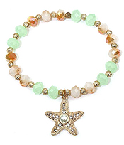 PEARL AND CRYSTAL STARFISH CHARM GLASS BEAD STRETCH BRACELET