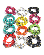 ASSORT COLOR MULTI SEED BEAD AND PEACE STRETCH BRACELET - 12 PC DOZEN PACK