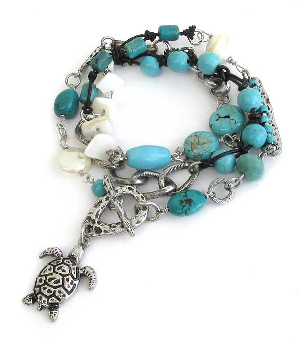 SEALIFE THEME MULTI STONE MIX WRAP TOGGLE BRACELET - TURTLE