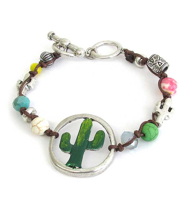 CACTUS THEME MULTI BEAD MIX TOGGLE BRACELET