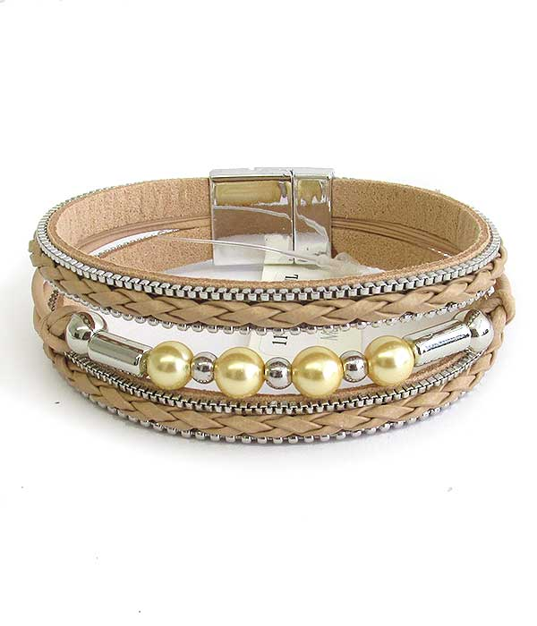 MULTI LAYER WOVEN LEATHERETTE AND BALL BEAD MAGNETIC BRACELET