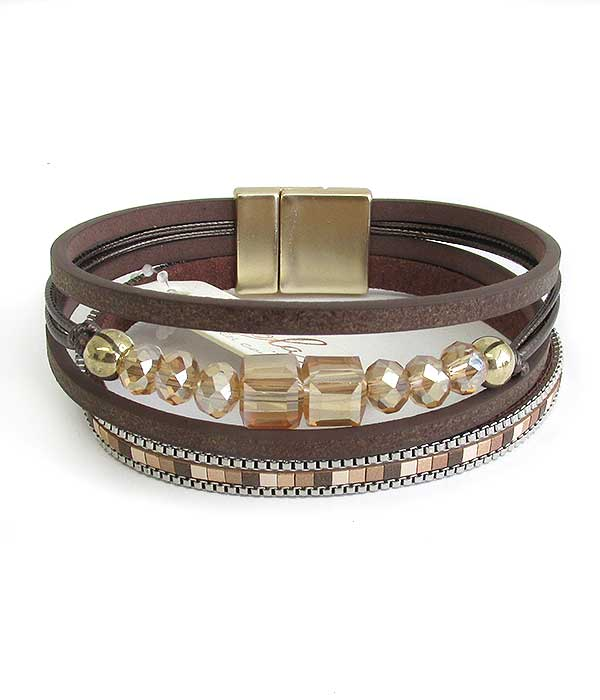 MULTI LAYER LEATHERETTE AND FACET STONE MIX MAGNETIC BRACELET