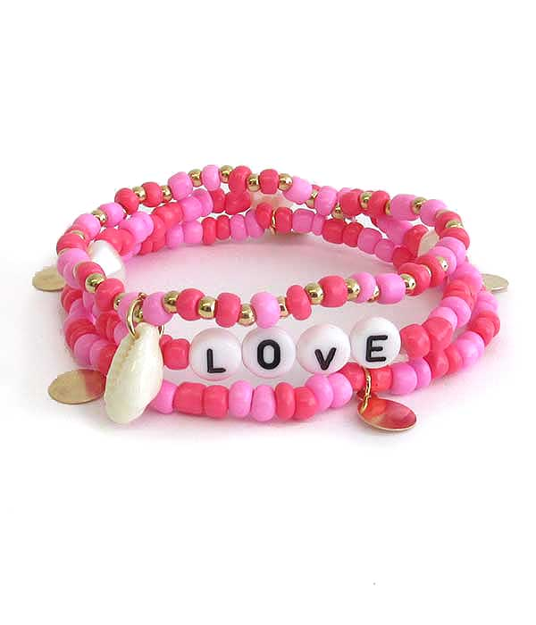 WORD BLOCK SEEDBEAD AND FRESHWATER PEARL STACKABLE STRETCH BRACELET - LOVE