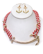 TWO LAYER ROPE WITH ANCHOR NECKLACE SET