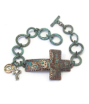 RELIGIOUS INSPIRATION MESSAGE CROSS TOGGLE BRACELET - PSALM 46:10