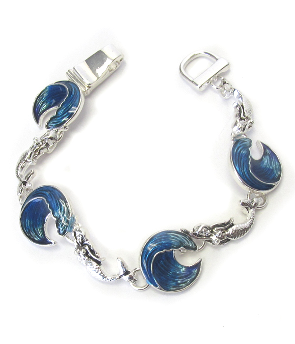 SEALIFE THEME MAGNETIC BRACELET - WAVE AND MERMAID