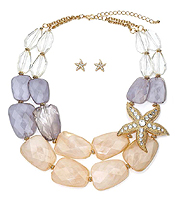 CRYSTAL STARFISH AND FACET RESIN STONE DOUBLE CHAIN NECKLACE EARRING SET