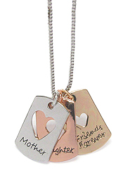 LOVE MESSAGE THREE LARGE PENDANT NECKLACE - MOTHER DAUGHTER FRIENDS FOREVER