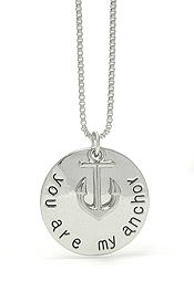 VALENTINE LOVE MESSAGE ANCHOR AND ROUND PENDANT NECKLACE - YOU ARE MY ANCHOR