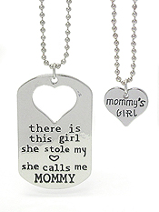 MOMMY AND GIRL TWO NECKLACE SET - SHE CALLS ME MOMMY