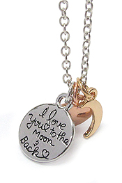 LOVE MESSAGE THREE PENDANT NECKLACE - I LOVE YOU TO THE MOON AND BACK