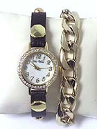 LEATHER AND CHAIN MIX BAND AND MOP AND CRYSTAL FACE WRAP WATCH