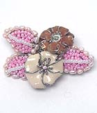 ENAMEL FLOWER AND SEED BEADS HANDMADE STYLE FLOWER BOUQUET BROOCH