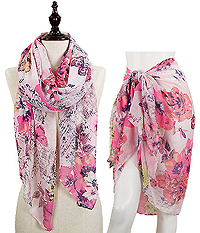 FLOWER AND BUTTERFLY OBLONG SCARF - 100% VISCOSE