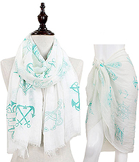 NAUTICAL THEME OBLONG SCARF - 30% COTTON 70% VISCOSE