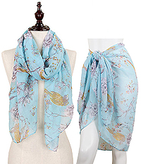 BIRD ON BRANCH OBLONG SCARF - 100% POLYESTER