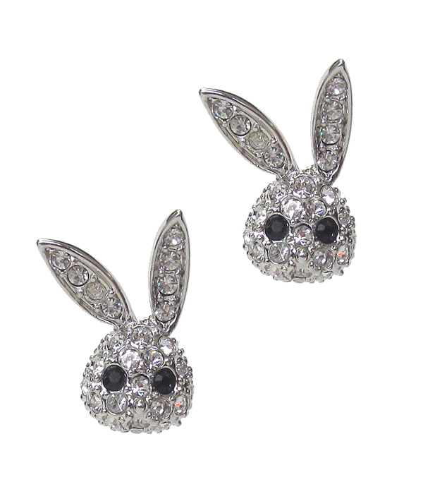 WHITEGOLD PLATING CRYSTAL BUNNY EARRING