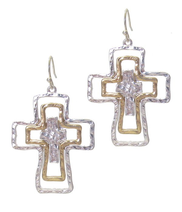 TRIPLE METAL CROSS EARRING