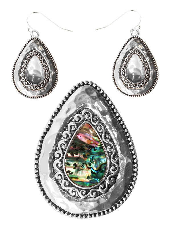 DESIGNER TEXTURED ABALONE PENDANT AND EARRING SET - TEARDROP