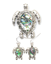 METAL FILIGREE AND ABALONE TURTLE PENDANT AND EARRING SET