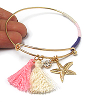 ALEX AND ANI STYLE SEALIFE AND POM WIRE BANGLE BRACELET - STARFISH