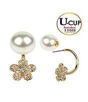 CRYSTAL FLOWER AND PEARL DOUBLE SIDED FRONT AND BACK U CUP EARRING