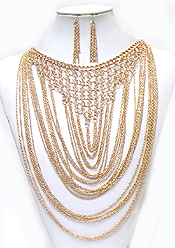 Wholesale Jewelry - MULTI LAYER CHAIN LINKED NECKLACE SET