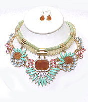TWO LAYER ROPE WITH MULTI CRYSTALS FLOWER DROP NECKLACE SET