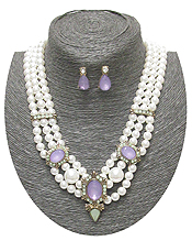 PUFFY ACRYLIC STONE AND TRIPLE PEARL CHAIN NECKLACE EARRING SET