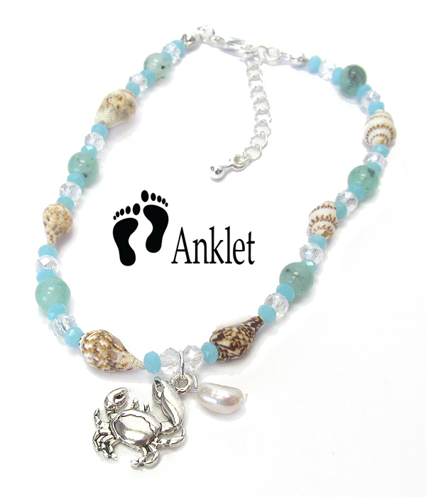 SEALIFE THEME MULTI BEAD AND SHELL ANKLET - CRAB