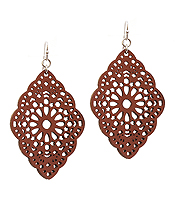 LEATHERETTE FILIGREE EARRING