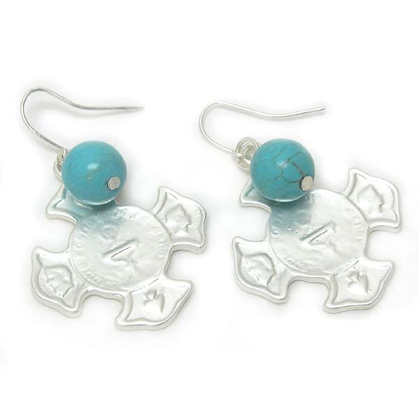 COINED CROSS AND TURQUOISE EARRING