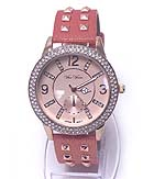MICHAEL KORS STYLE CRYSTAL DIAL AND SPIKE ON BAND WATCH